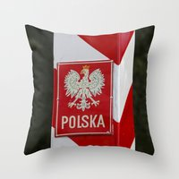 poland Throw Pillows featuring Frontier between Poland and Germany by Premium