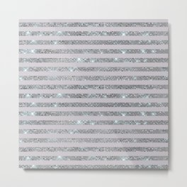 Silver Sparkle Stripes Metal Print