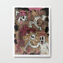 THE CARTOON CAT PINK Metal Print