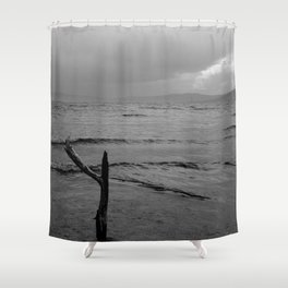 Black and white minimal lakescape Shower Curtain