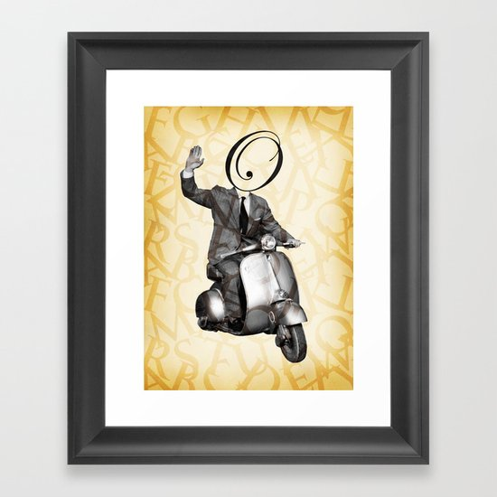 Mr O on his vespa Framed Art Print