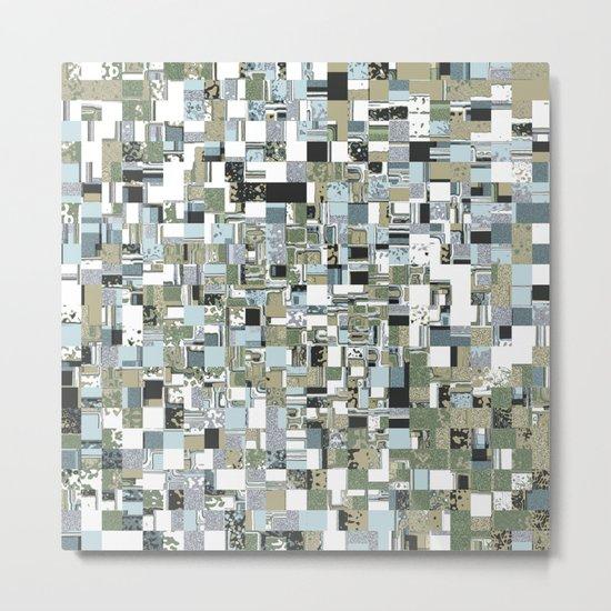 Geometric Grid of Textures Metal Print