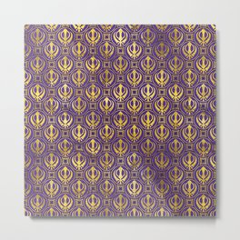 Golden Khanda pattern on violet Metal Print