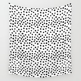 Preppy black and white dots minimal abstract brushstrokes painting illustration pattern print Wall Tapestry