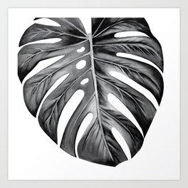Black and White Monstera Leaf Art Print