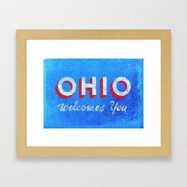 Vintage Ohio Welcome Sign Framed Art Print