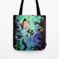 brad pitt Tote Bags featuring The Pitt by Richtoon