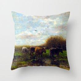 Willem Maris Cows at evening Throw Pillow