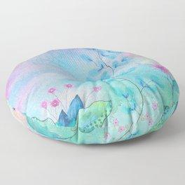 Ethereal garden watercolor painting Floor Pillow