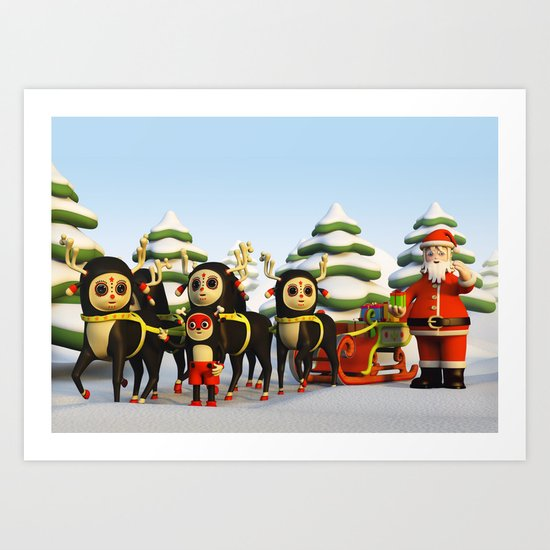 Santa's Sleigh Art Print