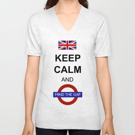 Keep Calm and Mind the Gap British Saying Unisex V-Neck