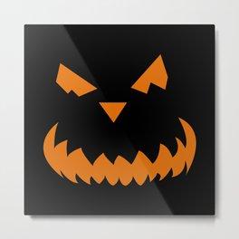 Black Pumpkin Face Metal Print