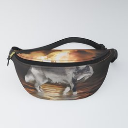 """Survivor"" Grey Wolf Fire Flames Fanny Pack"