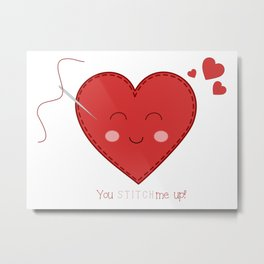 kawaii heart, cute heart, stitched heart, sewing heart, happy heart Metal Print