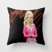 dolly parton Throw Pillows featuring Dolly Parton in Gothenburg 8/28/11 by Diana Falheim