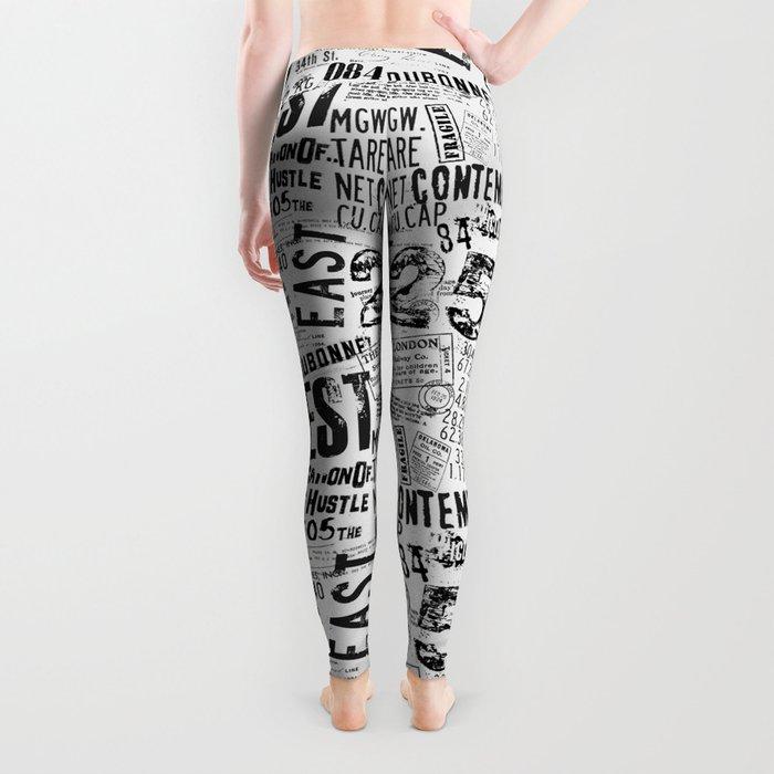 East West Grunge Distressed black white #urban typography Leggings