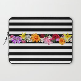 flowers on black and white stripes Laptop Sleeve