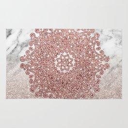 Rose gold mandala marble glitter ombre Rug