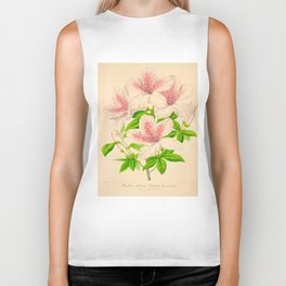 Azalea Vittato-Punctata Vintage Botanical Floral Pink Flower Scientific Illustration Biker Tank