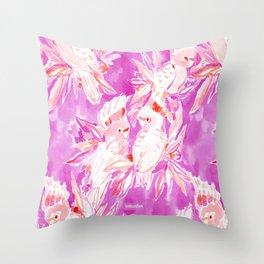 COCKATUDE Pink Cockatoo Watercolor Throw Pillow