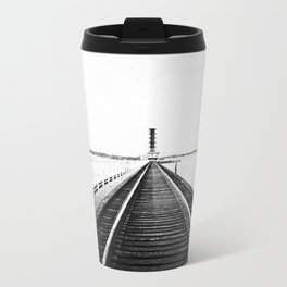 Rail Track through the Bay {Black and White} Metal Travel Mug