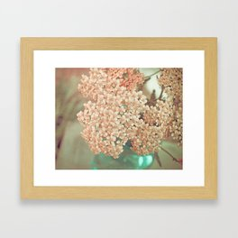 Botanical Still Life Yarrow in Apricot and Jade Framed Art Print