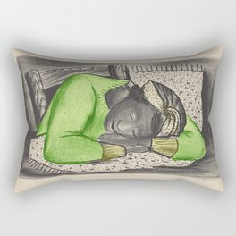 Vintage Folk Art - Sleeping Girl - Rectangular Pillow