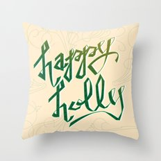 Happy Holly Throw Pillow