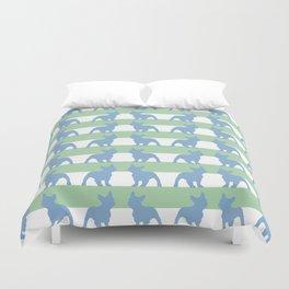 Green & Blue French Bulldog pattern!  Duvet Cover