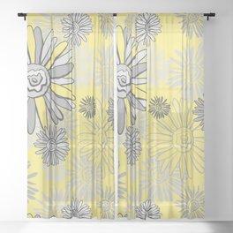 Illuminating Daisy | Yellows and Greys  Sheer Curtain