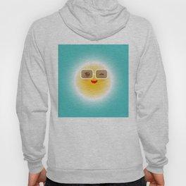 Kawaii funny sun with sunglasses pink cheeks and wink at eyes Hoody
