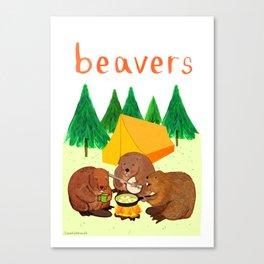 Beavers Illustration Canvas Print