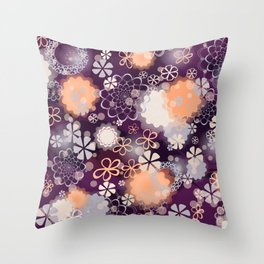Lacy Flowers Seamless Repeating Pattern Throw Pillow
