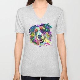 Colorful Australian Shepherd Dog Lovers Unisex V-Neck