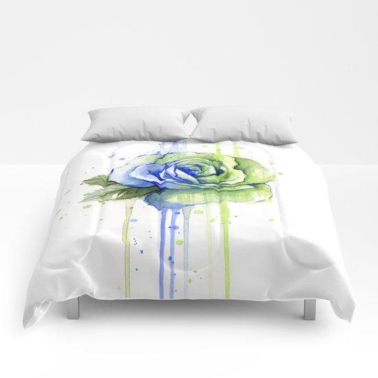 Flower Rose Watercolor Painting 12th Man Art Comforters