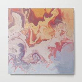 Abstract Pastel Color Liquid in Water Metal Print
