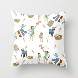 Vintage Laundry Day! Throw Pillow