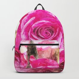 Bunch of Pink roses (watercolour) Backpack