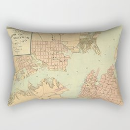 Vintage Norfolk and Portsmouth VA Harbor (1861) Rectangular Pillow