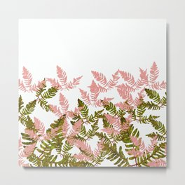 PALMS AND FERNS PINK AND GREEN Metal Print