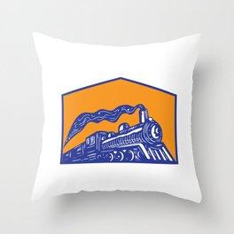 Steam Locomotive Train Coming Crest Retro Throw Pillow