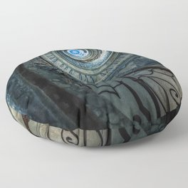 Decorated spiral staircase in blue tones Floor Pillow