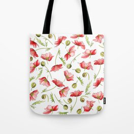 Red Poppies, Illustration Tote Bag