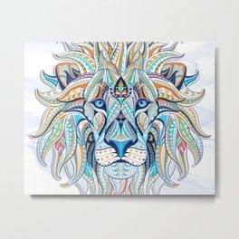 Blue Ethnic Lion Metal Print