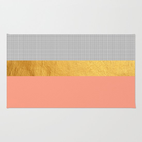 Minimalist Fashion Peach Pink + Gold + Squares Rug By