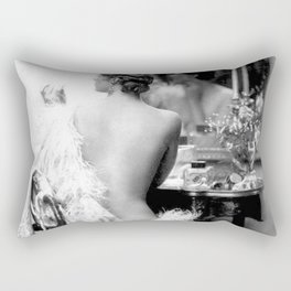 Ziegfeld Girl at her Dressing Table back stage, Paris black and white photograph Rectangular Pillow