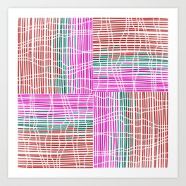 Red, Teal, Pink Vein and Stripe Patterns Art Print
