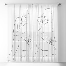 Woman Nude Minimal Drawing Sheer Curtain