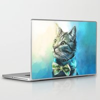 cat coquillette Laptop & iPad Skins featuring Handsome Cat by Alice X. Zhang
