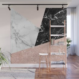 Black white marble blush pink rose gold glitter color block Wall Mural